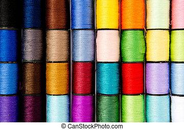 cosendo, -, fio, -, algodão, carretéis