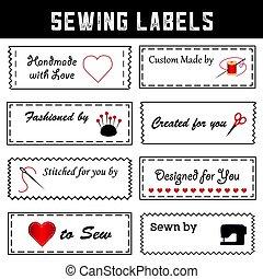 cosendo, moda, etiquetas, cosendo, costurando, diy, ofícios