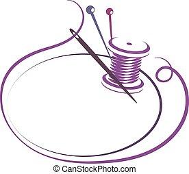 coser, agulha, silueta, fio