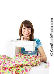 coser, costura de mujer, máquina, utilizar, ropa