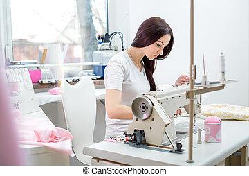 coser, máquina, niña, Costura, costurera