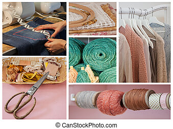 coser, objetos, plano de fondo