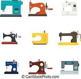 coser, plano, estilo, conjunto, máquina, icono