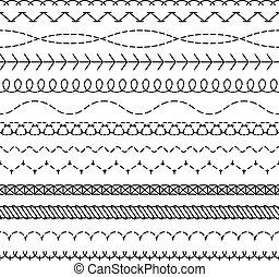 coser, ponto, fio, stitched, padrão, cosendo, seamless, ziguezague, têxtil, enfie, bordas, listra, fronteiras, lines., tecido