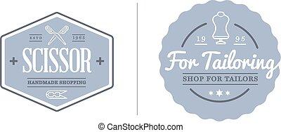 coser, ser, conjunto, tejido de punto, sastrería, costura, ilustración, utilizado, sastre, vector, lata, logotipo, prima, calidad, o, elementos, icono