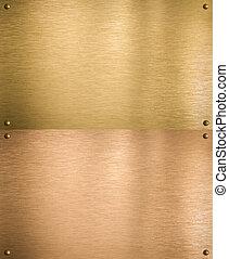 cosido, cobre, remaches, oro, placas