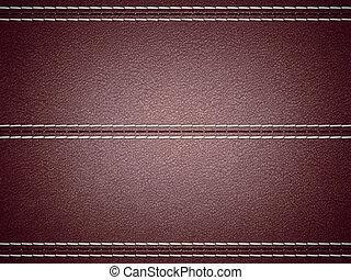 cosido, cuero, horizontal, fondo marrón