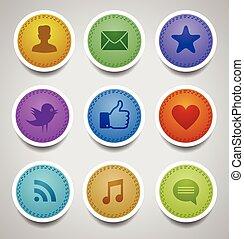 cosido, etiquetas, con, social, iconos de la tela