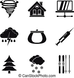 Cosiness icons set, simple style - Cosiness icons set....