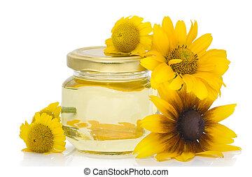 cosmético, aceite, de, flores amarillas