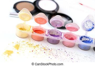 cosmético, colorido, polvos