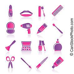 cosmético, componer, y, peluquería