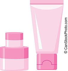 cosmético, contenedores, plástico