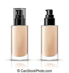cosmético, diseño, aislado, paquete, fondo blanco, contenedor, fundación, botella, mockup