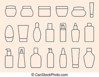 cosmético, isolado, bottles., luz, amarela, experiência.