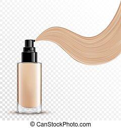 cosmético, líquido, fundação, para, maquilagem, ligado,...