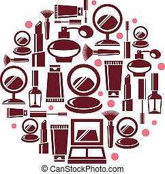 cosmético, redondo, ilustração, ícones