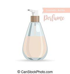 cosméticos, botella, para, perfume