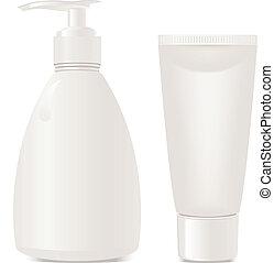 cosméticos, contenedores, gel, jabón