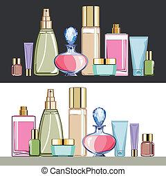 cosméticos, cuidado belleza, conjunto
