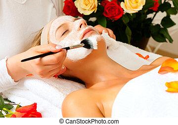 cosméticos, e, beleza, -, aplicando, máscara facial