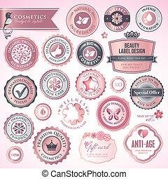 cosméticos, etiquetas, y, insignias