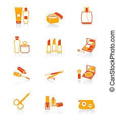 cosméticos, iconos, objetos, jugoso,  