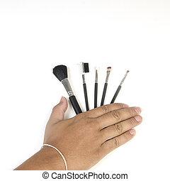 cosméticos, jogo, escova, maquilagem, isolado