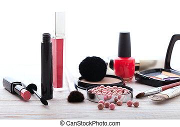 cosméticos, maquillaje, blanco, wooden., fondo., simulado,...