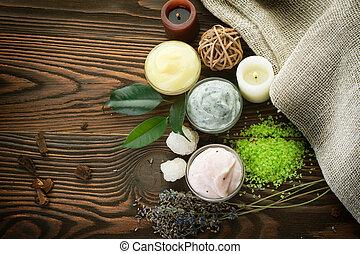 cosméticos, natural, balneario