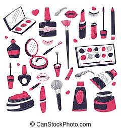 cosméticos, productos, maquillaje, salón, belleza, conjunto