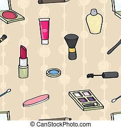 cosméticos, seamless, azulejo, caricatura