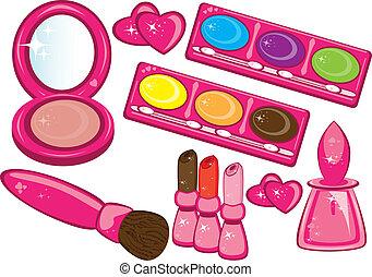 cosméticos, y, productos de la belleza
