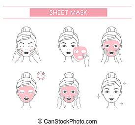 cosmétique, arrière-plan., mask., éléments, facial, ligne,...