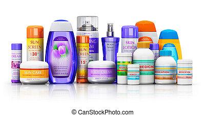 cosmétique, fournitures, monde médical, produits, ensemble, healthcare