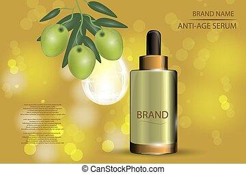 cosmétique, pulvérisation, bokeh, sérum, olives, fond, collagène, hydrater, drop., vert, luxe