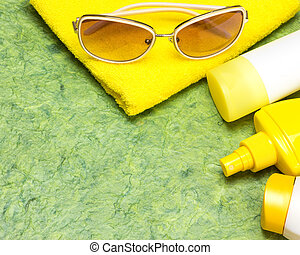 cosmétique, sunscreen, produits, fond, soin peau