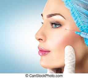 cosmétologie, obtient, facial, femme, beauté, injections.