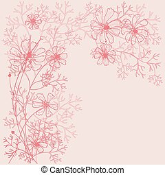 Beautiful decorative background with flowers outlines.