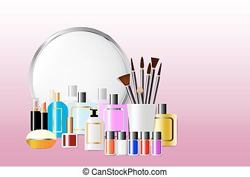 Cosmetic accessories standing in front of a mirror