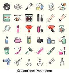Cosmetic and beauty icon set 2/2, filled outline icon