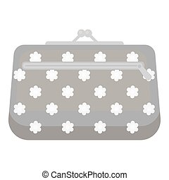 Cosmetic bag icon in monochrome style isolated on white background. Make up symbol stock vector illustration.