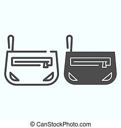 Cosmetic bag line and solid icon. Little bag with cosmetics vector illustration isolated on white. Make up bag outline style design, designed for web and app. Eps 10.