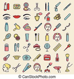 Cosmetic beauty and make up icon set
