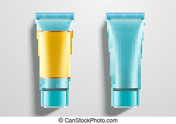 Cosmetic blue tubes set