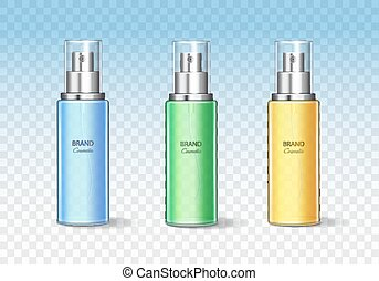 Cosmetic bottle can sprayer container set. Realistic dispenser vector template