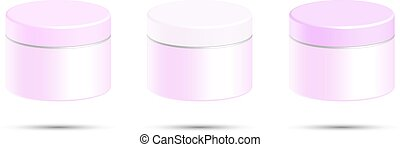 Cosmetic bottle for cream, gel, powder, pink color