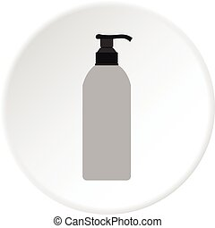 Cosmetic bottle icon circle