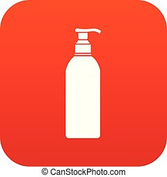 Cosmetic bottle icon digital red