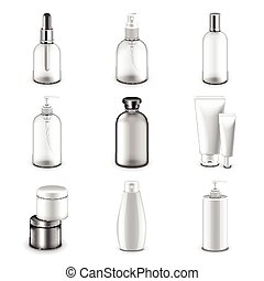 Cosmetic bottles icons vector set